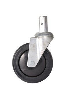 5'' Black Paint Medium Duty Galvanized Grip Stem Swivel Caster Wheel